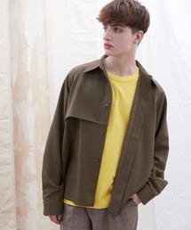 TRストレッチ ビッグシルエット L/S ヨークトレンチシャツ(EMMA CLOTHES)ブラウン系その他2