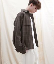 TRストレッチ ビッグシルエット L/S ヨークトレンチシャツ(EMMA CLOTHES)ブラウン系その他3