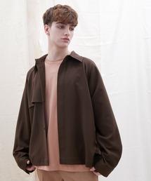 TRストレッチ ビッグシルエット L/S ヨークトレンチシャツ(EMMA CLOTHES)ブラウン系その他4