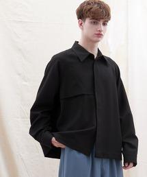 TRストレッチ ビッグシルエット L/S ヨークトレンチシャツ(EMMA CLOTHES)ブラック
