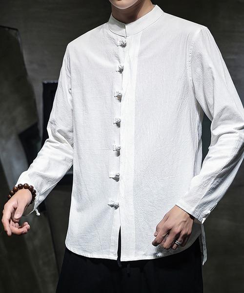 ディスクボタン ビッグシルエット チャイナシャツ