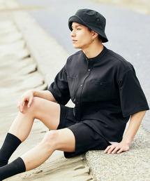 【セットアップ】テックリネン バンドカラーワーク半袖シャツ&バルーンショーツブラック