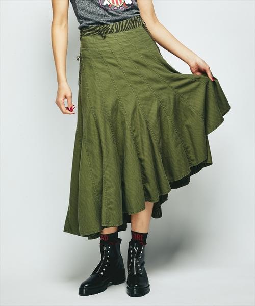 サイドジップ巻スカート