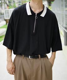 kutir(クティール)の【ウルトラルーズシルエット】配色ハーフジップポロシャツ(Tシャツ/カットソー)