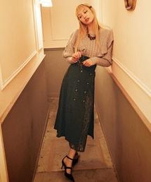 Lily Brown(リリーブラウン)の異素材切り替えスカート(スカート)