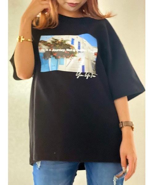 one way(ワンウェイ)の「フロントプリントTシャツ(Tシャツ/カットソー)」|ブラック
