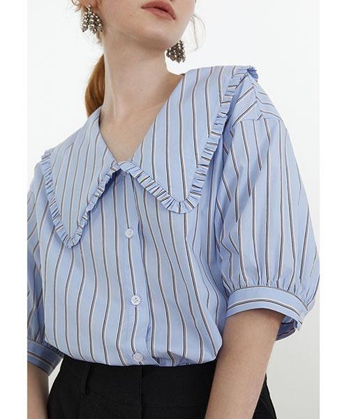 【Fano Studios】【2021SS】Big frill collar stripe shirt FX21S201