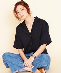 BY∴ オープンカラー5分袖シャツ -手洗い可能-
