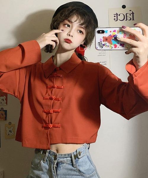 ショート丈 変形 チャイナシャツ シフォンシャツ