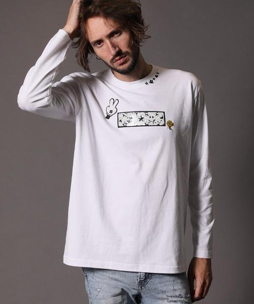 STUD MUFFIN(スタッドマフィン)の「mlt3195-5.6OZコットン天竺 アニマルモチーフシークイン L-S  Tシャツ(Tシャツ/カットソー)」|ホワイト