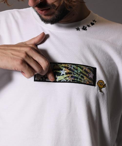 STUD MUFFIN(スタッドマフィン)の「mlt3195-5.6OZコットン天竺 アニマルモチーフシークイン L-S  Tシャツ(Tシャツ/カットソー)」|詳細画像