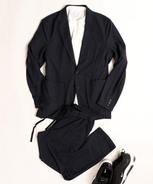 【WEB限定2点 セットアップ スーツ】SETUP ポリエステルニット パッカブル ジャケット+アンクルカットイージーパンツ