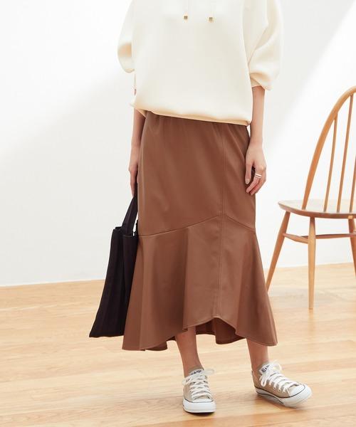 ViS(ビス)の「【田中みな実さん着用】 エコレザーマーメイドスカート(スカート)」|ダークブラウン