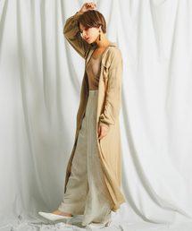 Fashion Letter(ファッションレター)のレーヨン ベルト付き 2way ロングシャツワンピース(シャツワンピース)