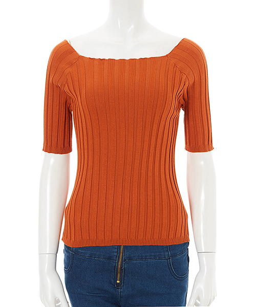 fifth(フィフス)の「フィットニット5分袖スクエアネック(ニット/セーター)」|オレンジ