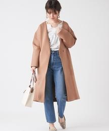 natural couture(ナチュラルクチュール)のノーカラーおしゃれコート(その他アウター)