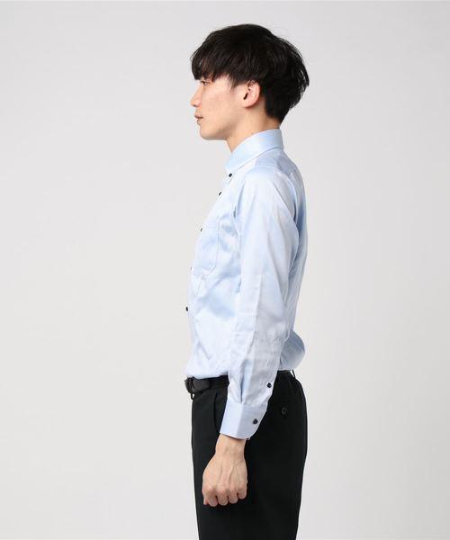 エムエフエディトリアルメンズ/m.f.editorial:Men 綿100%形態安定ブルー無地 テープ縫製ドゥエボタンダウンビジネスドレス長袖シャツ
