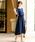 Fashion Letter(ファッションレター)の「リボンベルト付き レーススリーブドレス 謝恩会・結婚式のパーティードレス(ドレス)」|ネイビー