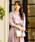 Fashion Letter(ファッションレター)の「リボンベルト付き レーススリーブドレス 謝恩会・結婚式のパーティードレス(ドレス)」|スモークピンク