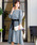Fashion Letter(ファッションレター)の「リボンベルト付き レーススリーブドレス 謝恩会・結婚式のパーティードレス(ドレス)」|グレイッシュブルー