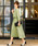 Fashion Letter(ファッションレター)の「リボンベルト付き レーススリーブドレス 謝恩会・結婚式のパーティードレス(ドレス)」|ライトグリーン