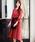 Fashion Letter(ファッションレター)の「リボンベルト付き レーススリーブドレス 謝恩会・結婚式のパーティードレス(ドレス)」|ボルドー