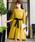 Fashion Letter(ファッションレター)の「リボンベルト付き レーススリーブドレス 謝恩会・結婚式のパーティードレス(ドレス)」|マスタード