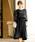 Fashion Letter(ファッションレター)の「リボンベルト付き レーススリーブドレス 謝恩会・結婚式のパーティードレス(ドレス)」|ブラック