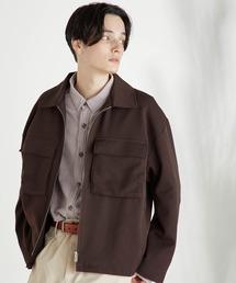 TRストレッチ スーツ地 オーバーサイズ CPOジャケット/セットアップ可ダークブラウン