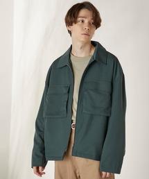 TRストレッチ スーツ地 オーバーサイズ CPOジャケット/セットアップ可グリーン