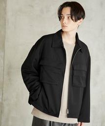 TRストレッチ スーツ地 オーバーサイズ CPOジャケット/セットアップ可ブラック