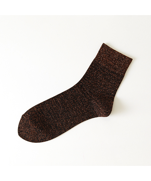 靴下屋(クツシタヤ)の「靴下屋/ ラメゴム長ショートソックス(ソックス/靴下)」|オレンジ