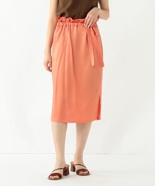 Demi-Luxe BEAMS(デミルクス ビームス)の「Demi-Luxe BEAMS / サテン ウエストリボン タイトスカート(スカート)」|コーラル