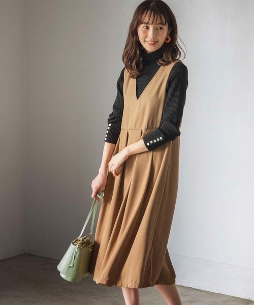 GeeRA(ジーラ)の「【WEB限定】BIGプリーツジャンスカ(ジャンパースカート)」|ベージュ
