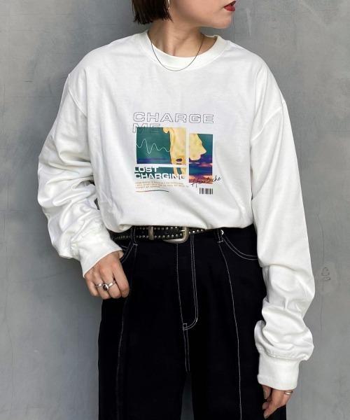 PAGEBOY(ページボーイ)の「【PAGEBOYLIM】ポップカラーロンTシャツ(Tシャツ/カットソー)」|ホワイト
