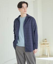 TRストレッチスーツ地L/Sオープンカラーシャツ(MONO-MART)ブルー系その他