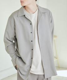 TRストレッチスーツ地L/Sオープンカラーシャツ(MONO-MART)グレー