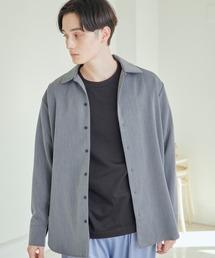 TRストレッチスーツ地L/Sオープンカラーシャツ(MONO-MART)チャコールグレー