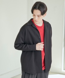 TRストレッチスーツ地L/Sオープンカラーシャツ(MONO-MART)ブラック