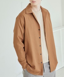 TRストレッチスーツ地L/Sオープンカラーシャツ(MONO-MART)モカ