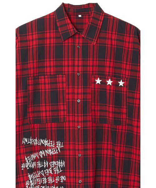 長袖ビッグシルエットプリントチェック柄シャツ