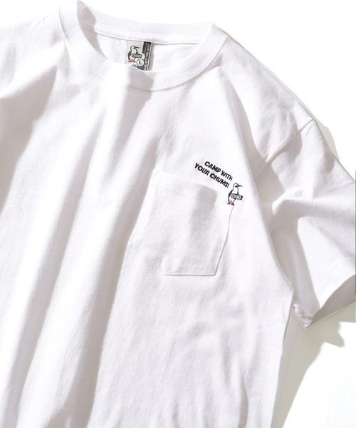 FREAK'S STORE(フリークスストア)の「WEB限定 CHUMS×FREAK'S STORE/チャムス 別注CAMP WITH CHUMS 刺繍Tシャツ(Tシャツ/カットソー)」|ホワイト