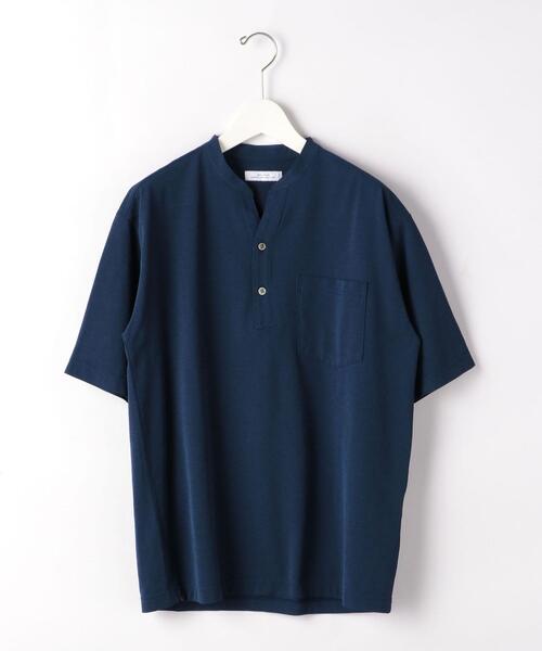 スキッパー バンドカラー ポロシャツ 半袖 Tシャツ カットソー < 機能性 / 吸水速乾 >