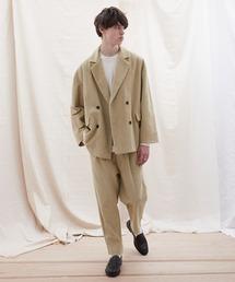 【セットアップ】オーバーサイズ ワイド セットアップ/ダブルテーラードジャケット&タックワイド テーパードパンツ EMMA CLOTHES 2021 S/Sベージュ