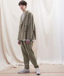【セットアップ】オーバーサイズ ワイド セットアップ/ダブルテーラードジャケット&タックワイド テーパードパンツ EMMA CLOTHES 2021 S/Sグレー系その他