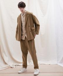 【セットアップ】オーバーサイズ ワイド セットアップ/ダブルテーラードジャケット&タックワイド テーパードパンツ EMMA CLOTHES 2021 S/Sブラウン