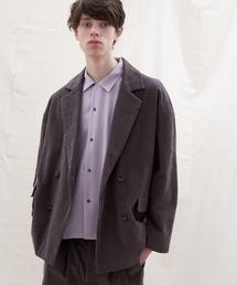 【セットアップ】オーバーサイズ ワイド セットアップ/ダブルテーラードジャケット&タックワイド テーパードパンツ EMMA CLOTHES 2021 S/Sチャコール