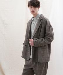 【セットアップ】オーバーサイズ ワイド セットアップ/ダブルテーラードジャケット&タックワイド テーパードパンツ EMMA CLOTHES 2021 S/Sグレー系その他2
