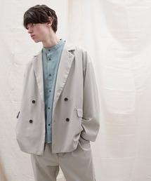 【セットアップ】オーバーサイズ ワイド セットアップ/ダブルテーラードジャケット&タックワイド テーパードパンツ EMMA CLOTHES 2021 S/Sライトグレー