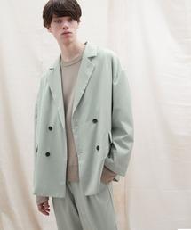 【セットアップ】オーバーサイズ ワイド セットアップ/ダブルテーラードジャケット&タックワイド テーパードパンツ EMMA CLOTHES 2021 S/Sライトブルー